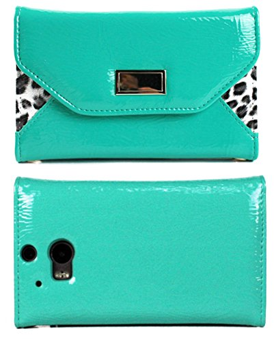 Mylife Bright Teal {Fashion Snow Leopard Design} Faux Leather (Card, Cash And Id Holder + Magnetic Closing) Slim Wallet For The All-New Htc One M8 Android Smartphone - Aka, 2Nd Gen Htc One (External Textured Synthetic Leather With Magnetic Clip + Internal