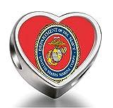 J.Charm USMC Character Marine Corps Heart Photo Charms Beads bead DIY