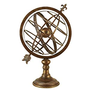 "Engraved 27""H Metal Armillary Nautical Celestial Sphere Globe"