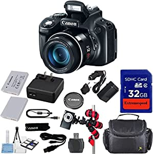 Canon PowerShot SX50 HS 12MP Digital Camera with 2.8-Inch LCD (Black) + Original Accessories + Extremespeed 32GB Commander Memory + Spider Tripod + Carrying Case + 12pc Bundle - International Version