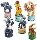 """Drücktiere aus Holz, sechs verschiedene Tiere auf je einem kleinem Podest, mit Spaß auf """"Knopfdruck"""""""