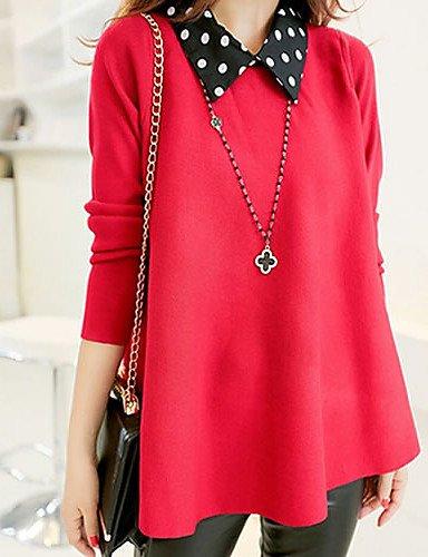 ZY/ Pullover Da donna Manica lunga Casual / Taglie forti Lavorato a mano Medio spessore , red-xxl , red-xxl