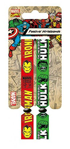 Marvel Comics - Iron Man E Hulk, Retrò, Set Di 2 10mm Wristbands Braccialetto (10 x 2cm)