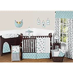 Sweet Jojo Designs Turquoise Blue and Gray Earth and Sky Birds Nature Girl or Boy Baby Bedding 9 Piece Crib Set
