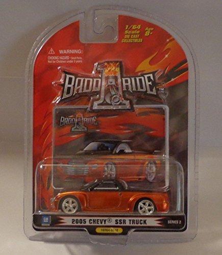 1 BADD RIDE 2005 Chevy SSR Truck 1:64 scale Diecast (Black/Metallic Orange) - 1