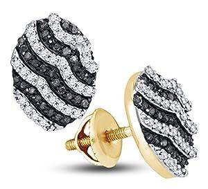 10K Yellow Gold Oval Shape Studs Channel Set Black & White Diamond Earrings (.45 cttw.)