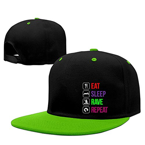GXGML Eat Sleep Rave Repeat Sign Logo Unisex Fashion Baseball Adjustable Hip Pop Cap Cool Truck Hat Baseball Caps Unisex,men And Women KellyGreen