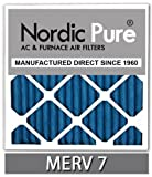 Nordic Pure 14x14x1M7-6 MERV 7 Pleated AC Furnace Air Filter, 14x14x1, Box of 6