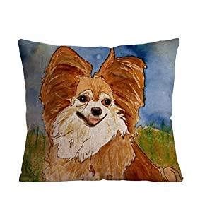 ilkin 18 X 18 Inch Cotton Linen Decorative Throw Pillow Cover Cushion Case, painting dog