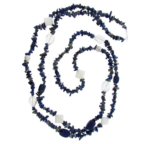 Sterling Silver Multi-Blue, Clear and White Genuine Stone Chip and Nugget Necklace, 60