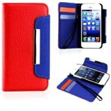 myLife (TM) Red and Royal Blue Business Design - Textured Koskin Faux Leather (Card and ID Holder + Magnetic Detachable... by myLife Brand Products