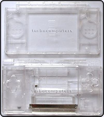 Crystal Clear Transparent - Nintendo DS Lite Complete Full Housing Shell Case Replacement Repair w/ Hinge Set