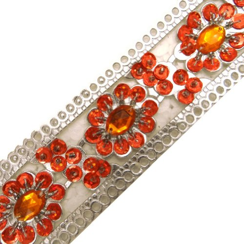 Silver Artificial Leather Trim Orange Beaded Sequin Sewing Lace Craft India 1 Yd