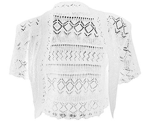 Womens Crochet Knitted Short Sleeve Ladies Bolero Shrug (12/14(UK 16/18), White)