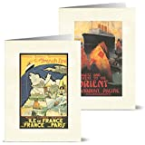 Vintage Travel Posters - 36 Note Cards for $9.99 with 12 Different Images Including Tan Envelopes