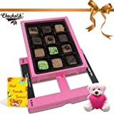 12pc Classic Collection Of Chocolates With A Card And Teddy - Chocholik Belgium Chocolates