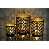 Logam Geo Moroccan Tea Light Votive Holders(Set Of Three)