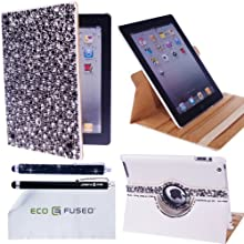 BLING 360 Rotating IPad 4 IPad 3 IPad 2 White Leather Case With Sparkling Crystals/ One BLING Stylus / One Stylus...