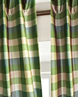 Dupion Silk Buffalo checks green.blue & Ivory curtain