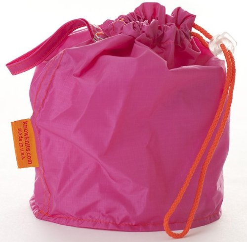 Pink Medium GoKnit Pouch Project Bag w/ Loop & Drawstring by KnowKnits