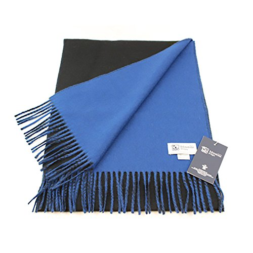 ジョンストンズ・ウール カシミア・スカーフ WA000020 (Black and Blue) [並行輸入品]