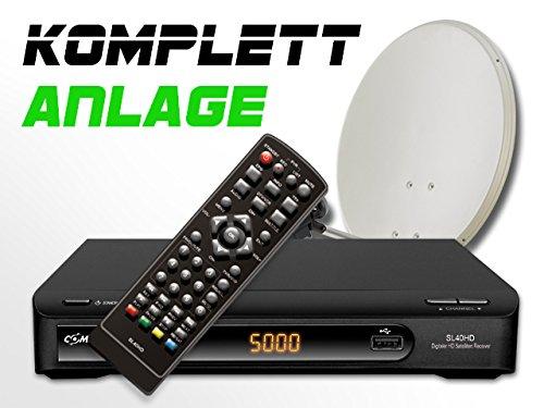 COMAG Digitale HDTV Twin Satelliten-Anlage Komplett-Set SL40HD (Inklusive: HDTV Receiver, Twin LNB, 80er Stahlantenne, Masthalterung)