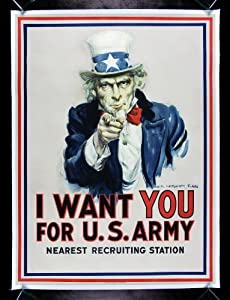 FOR U.S. ARMY * CineMasterpieces ORIGINAL WW1 PROPAGANDA POSTER UNCLE