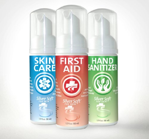 SilverSoft 3 Pack - First Aid Antiseptic, Hand Sanitizer & Skin Care Foam - Alcohol Free, Antibacterial
