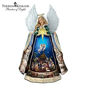 Thomas Kinkade Talking Nativity Angel Sculpture With Music And Animation by The Bradford Exchange