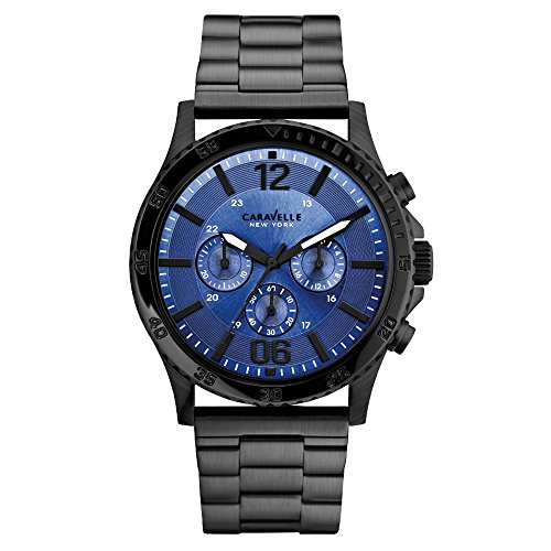 Caravelle New York 45A106 - Reloj  de Cuarzo para Hombre, correa de Acero inoxidable color Negro