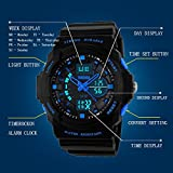 Watchpl Multi Function Digital LED Quartz Watch Water Resistant Electronic Sport Watches Child Blue Small