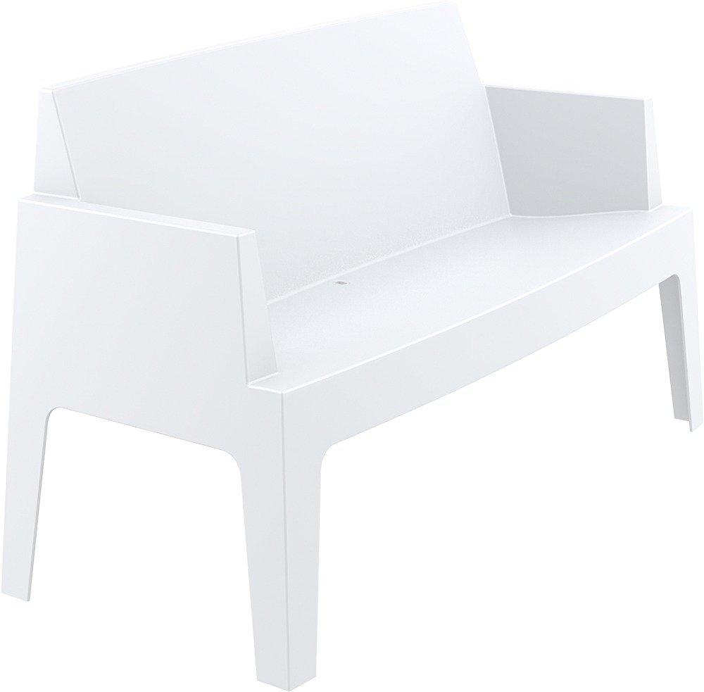 CLP 2er Design Kunststoff-Sofa BOX (aus bis zu 4 Farben wählen) stapelbar, wasserabweisend, UV-beständig, belastbar bis 200 kg weiß