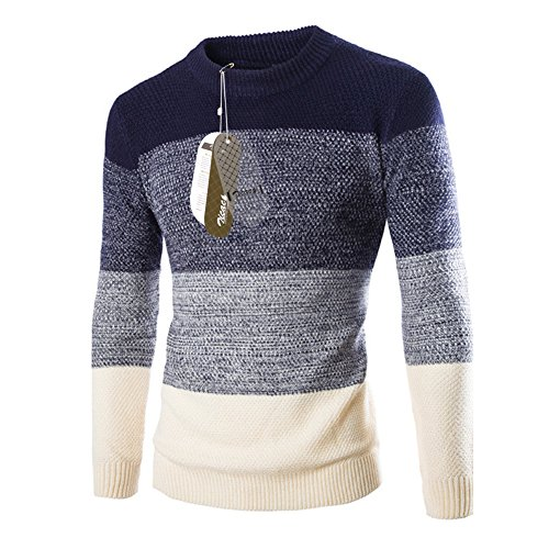 Zicac Men's Casual Fashion Pullover Sweater Assorted Color Knitwear (M/Asia Tag XL, Navy Blue)