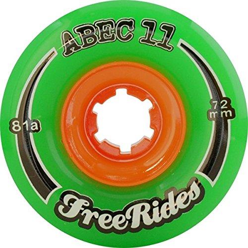 Abec 11 FreeRides Green Longboard Wheels - 66mm 81a (Set of 4) коньки onlitop abec 5 35 38 green 869411