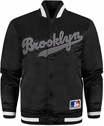 Official Majestic Athletics Varsity-Giacca, motivo: Brooklyn, colore: Nero Nero  nero