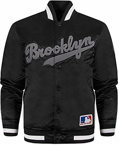 Official Majestic Athletics Varsity-Giacca, motivo: Brooklyn, colore: Nero Nero  nero