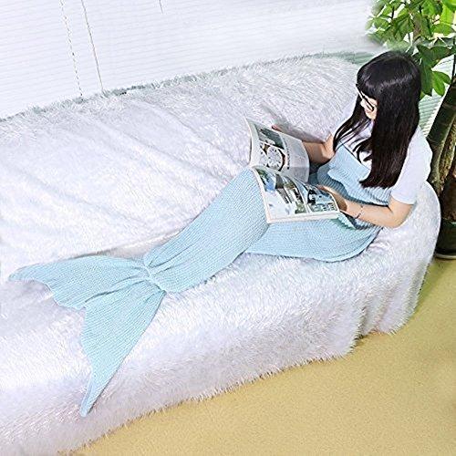 Mermaid Schwanz Blanket Knitting Pattern Nixeendstück Blanket von Fansheng, Erwachsene / jugendlich Neuheit Mermaid Tails Schlafsack Klimaanlage Bett / Sofa-Decke Stricken Polyester Blanket Slumber Bag Nette Mermaid-Geschenk (Hellblau) thumbnail