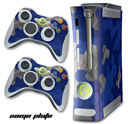 XBOX 360 Console Blue Camo Design Decal Skin - System & Remote Controllers - CamoPlate - Blue