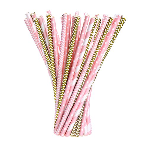 EBoot Paper Straws Drinking Decoration Straw for Birthday, Wedding, Christmas, Celebration Parties, Gold and Pink, 100 Pack