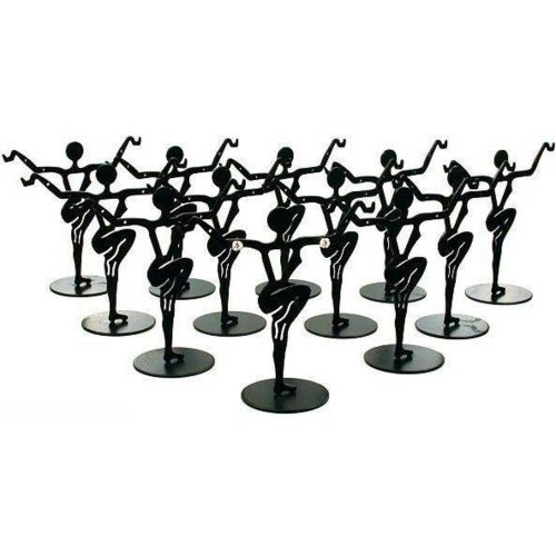 12 Black Metal Earring Dancer Jewelry Showcase Display Stands 3.25