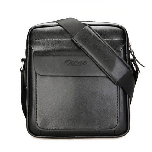 Zicac Mens Leather Shoulder Bag Handbags Briefcase for the Office Messenger Bag Large Enough to Hold iPad Air...