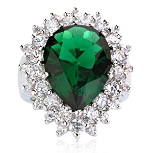 big pear simulated emerald ring jewelry
