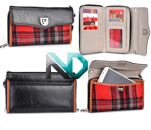 Women'S Smartphone Clutch Fits Kyocera Hydro Elite | Includes Removable Shoulder Strap (Black With Carmel Piping / Red And Black Tartan Plaid) +Nextdia Velcro Tie