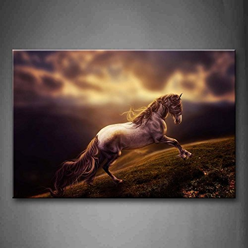 Horse Running On Grass Wall Art Painting The Picture Print On Canvas Animal Pictures For Home Decor Decoration Gift