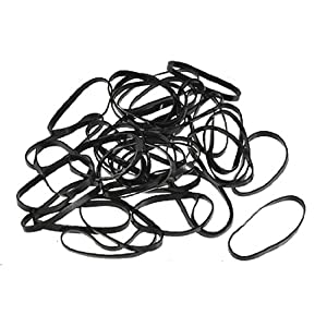 40 Pcs Black Ponytail Hair Rubber Bands w Clear Case