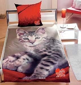 katze katzen fotodruck bettwaesche ein herz fuer tiere hochwertige renforce qualit t 80 x 80. Black Bedroom Furniture Sets. Home Design Ideas