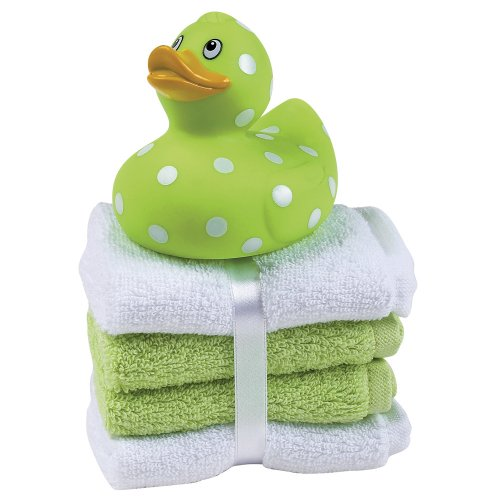 Elegant Baby Rubber Duck And Washcloth Gift Set - Green