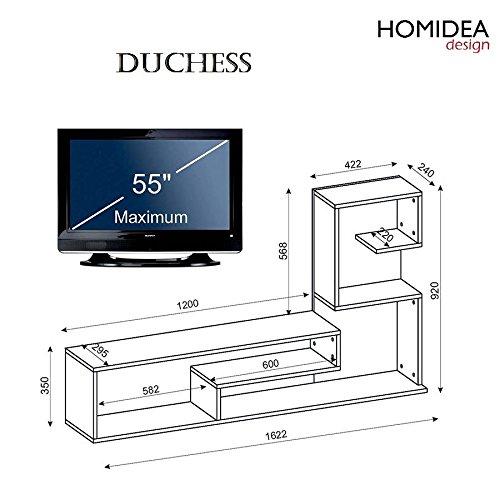 duchess wohnwand wei nussbaum tv lowboard mit wandboard. Black Bedroom Furniture Sets. Home Design Ideas