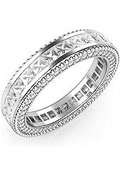 925 Sterling Silver Princess Cut Cubic Zirconia CZ Milgrain Eternity Band Ring