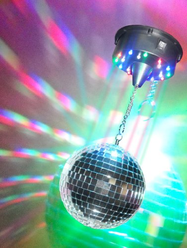 Visual Effects Mirror Ball Party Kit With 6 Inch Mirror Ball And Multicolor Battery Operated Motor With Leds